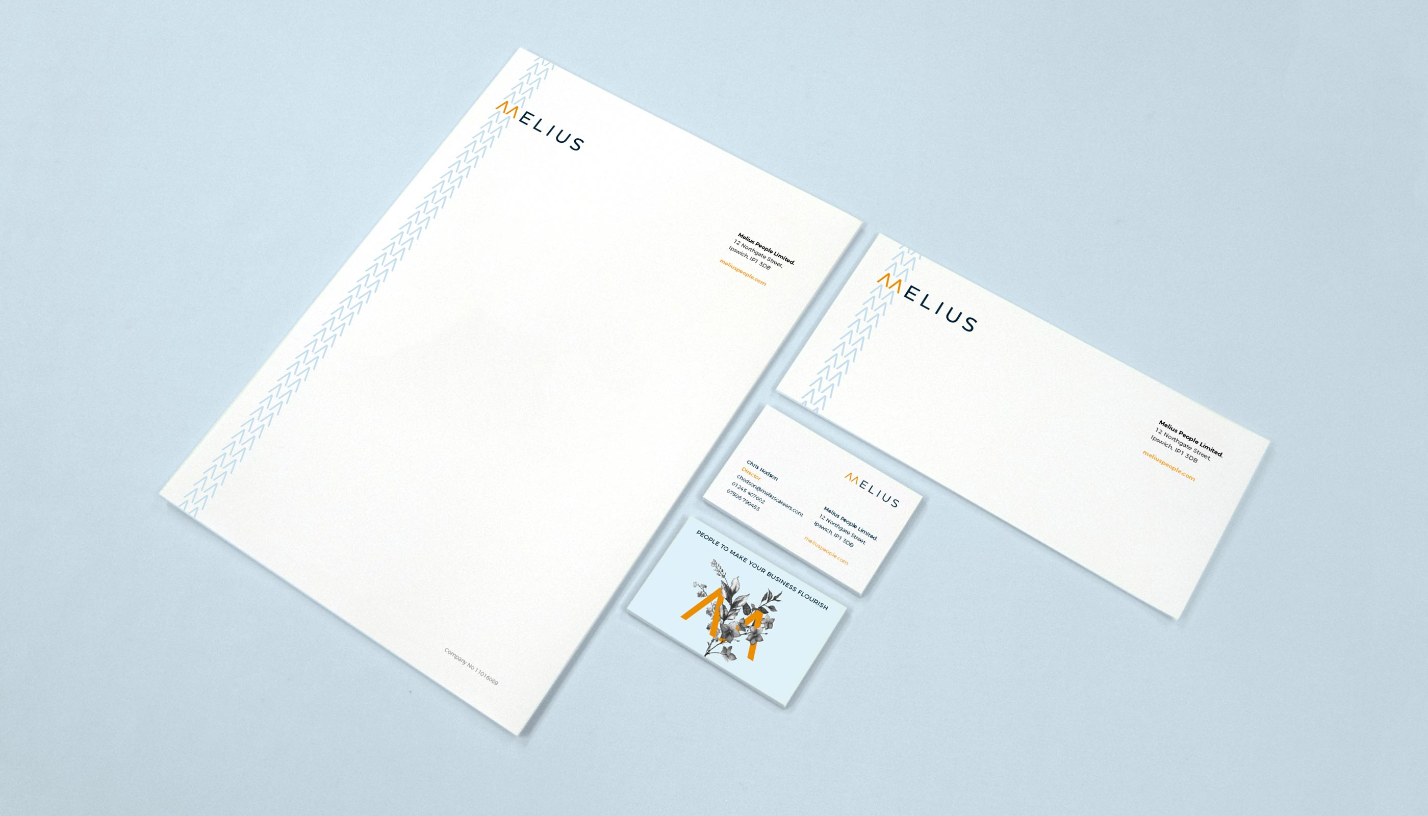 Stationery design for Melius in Ipswich, Suffolk.