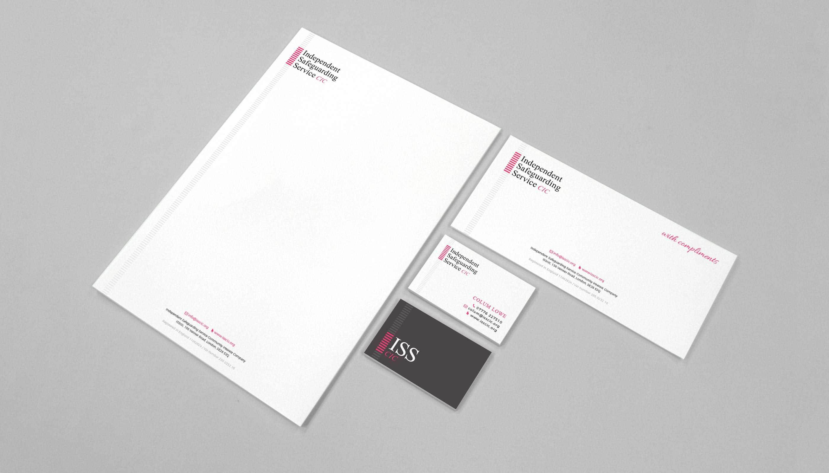 Stationery design for Independent Safeguarding Service CIC, in London.